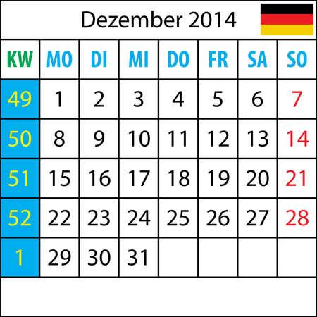 deutsch: Mondkalender, Dezember 2014, Deutsch, mit Zahl der Woche
