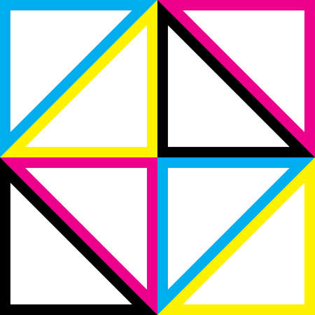 composing: Cyan, Magenta Yellow Black CMYK triangles composing square shape Illustration