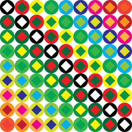 Dot color swatches combined with square diamond swatches diagonals background Illustration