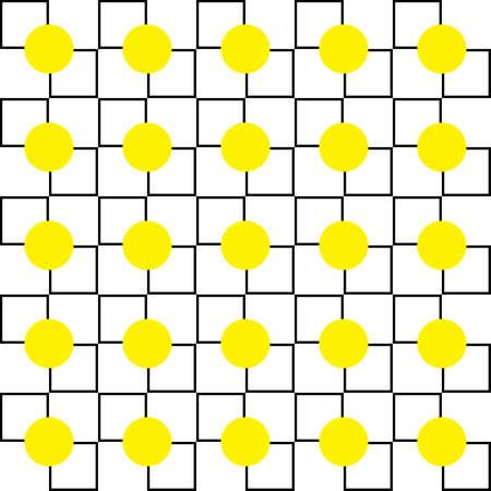 Gele stippen op pleinen diagonaal kruispunten achtergrond