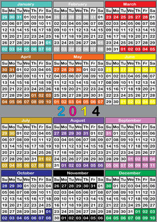 specific: 2014 CALENDAR BIG color background specific for each month