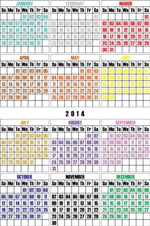 MOST SIMPLE CALENDAR 2014 colored months letter Vector
