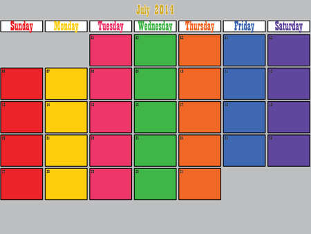July 2014 planner big space color days Vector