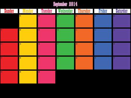 September 2014 planner grote ruimte kleur dagen op zwart Stock Illustratie