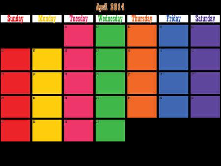 April 2014 planner big space color days on black Vector