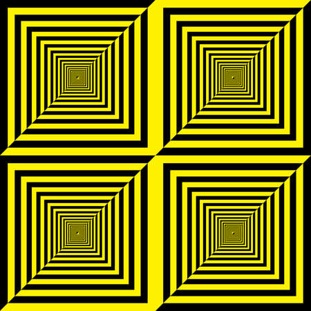 Abstract descending squares pseudo spyral black and yellow background