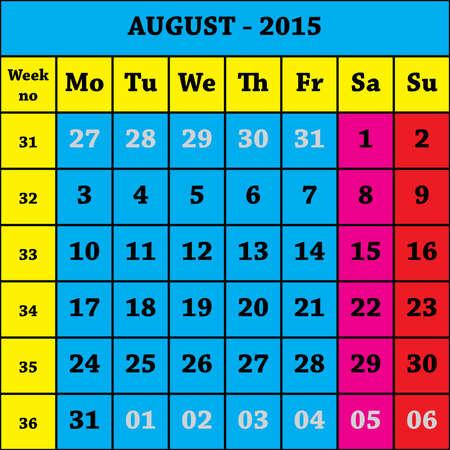 august calendar: 2015 agosto Calendario ISO 8601 con el n�mero de semanas