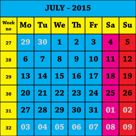 july calendar: 2015 July Calendar ISO 8601 with week number