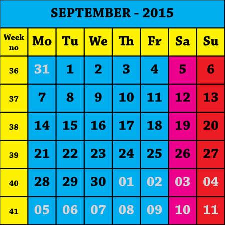 calendario septiembre: 2015 Calendario septiembre ISO 8601 con el n�mero de semanas