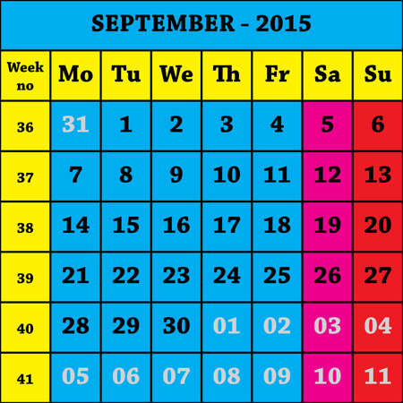 september calendar: 2015 September Calendar ISO 8601 with week number