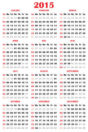 sundays: 2015 Calendar Black Letters Red Sundays