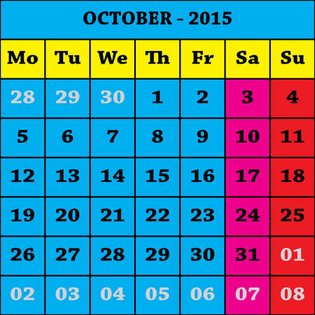october calender: 2015 Calendario octubre ISO 8601 Vectores