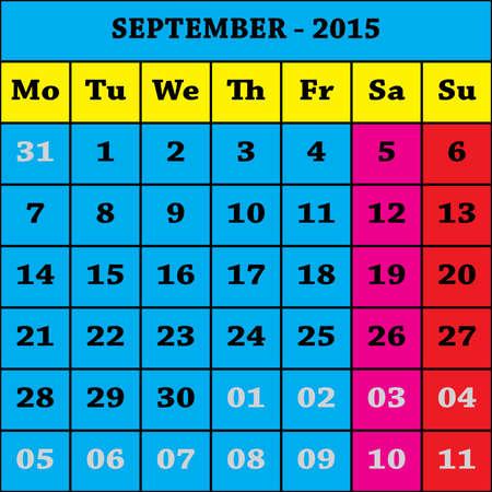 calendario septiembre: 2015 Septiembre Calendario ISO 8601