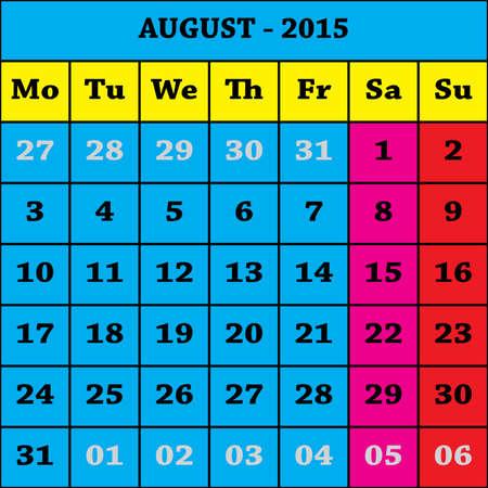 august calendar: 2015 agosto Calendario ISO 8601