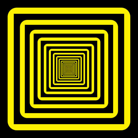 black and yellow: Abstract descending perspective frame black yellow background Illustration
