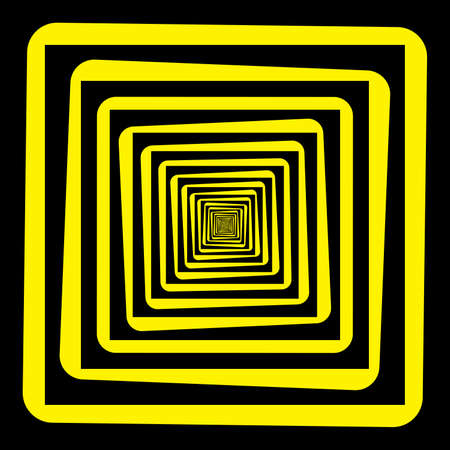 black and yellow: Abstract descending perspective frame black yellow background hypnotic effect