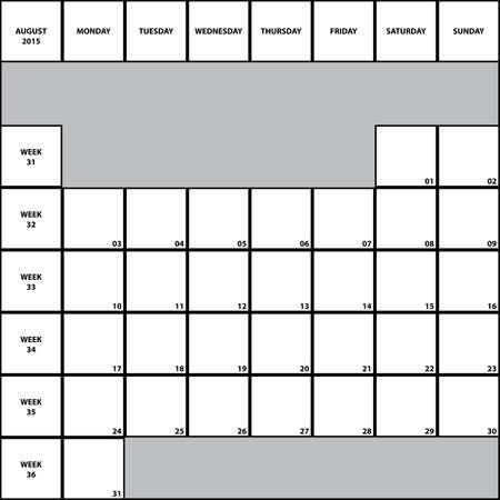 week planner: August 2015 Planner with week numbers BIG Illustration