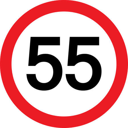 number 55 in a red circle Vector