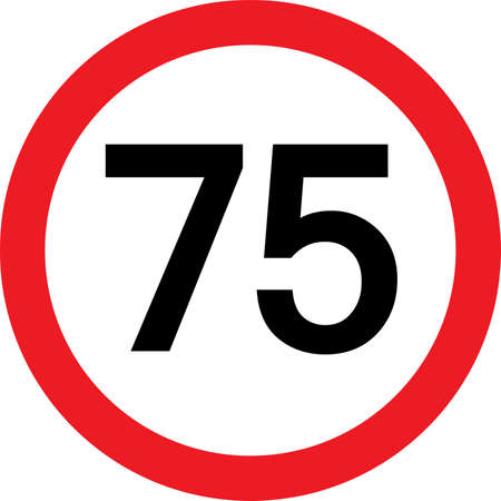 number 75 in a red circle Vector