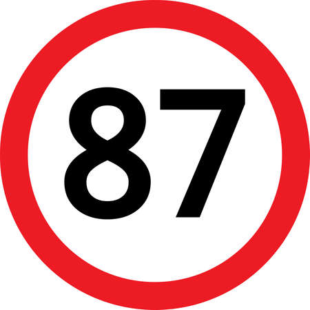number 87 in a red circle speed limit Vector
