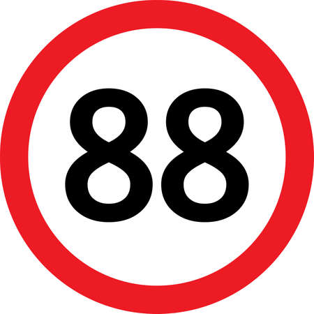 curving: number 88 in a red circle speed limit Illustration
