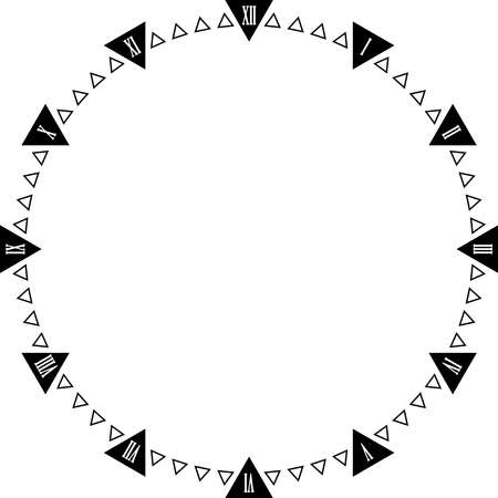 Clock dial triangle points Roman Numbers