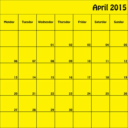 April 2015 Planner Square Customizable Vector