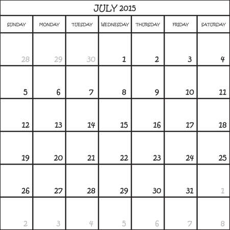 CALENDAR PLANNER MONTH JULY 2015 ON TRANSPARENT BACKGROUND Royalty
