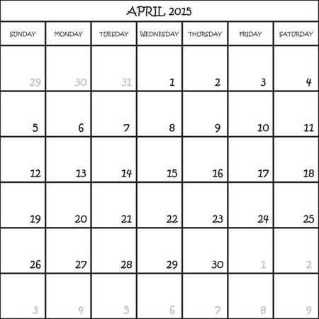 CALENDAR PLANNER MONTH APRIL 2015 ON TRANSPARENT BACKGROUND Illustration