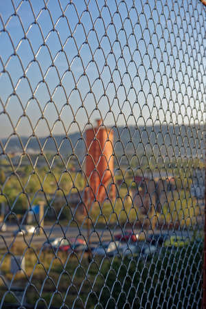 Wire fence to protect the industrial landscape Sibiu Romania photo