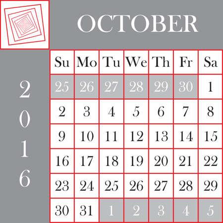 kalender oktober: Square format 2016 Calendar October