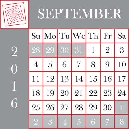 calendar september: Square format 2016 Calendar September