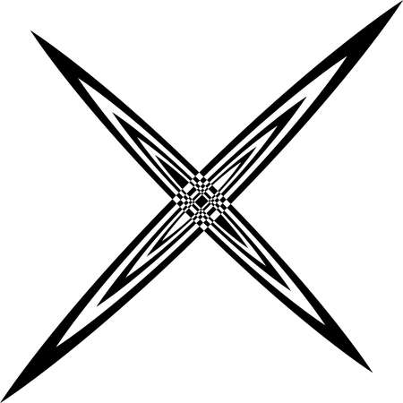 arched: Arabesque cross from arched disgonals abstract black on transparent background Illustration