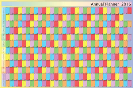day planner: Annual planner 2016 specific color for each day of the week black letters with white contour and shadows