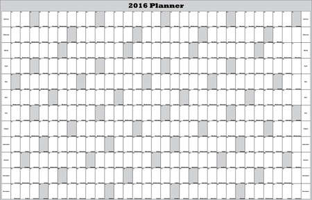2016 Annual Planner big editable space gray Sunday landscape Illustration