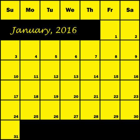 planner: 2016 Calendar Planner month of January Illustration