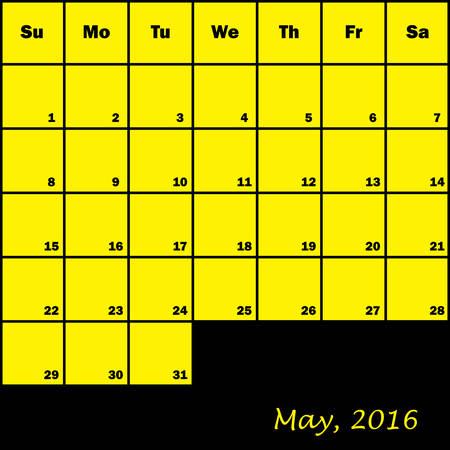 planner: 2016 Calendar Planner month of May Illustration