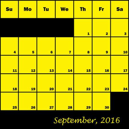 planner: 2016 Calendar Planner month of September Illustration