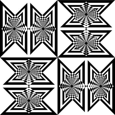 victorian fence: Seamless diagonal simetry chess like butterfly effect black triangles game on transparent background Illustration