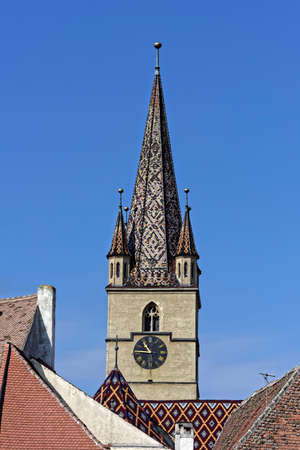 evangelical: Evangelical Cathedral Sibiu Romania tower on blue sky medieval architecture