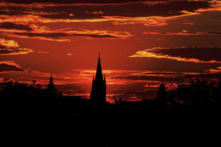 The Silhouette of the Old Town Sibiu Romania in the evening light Reklamní fotografie