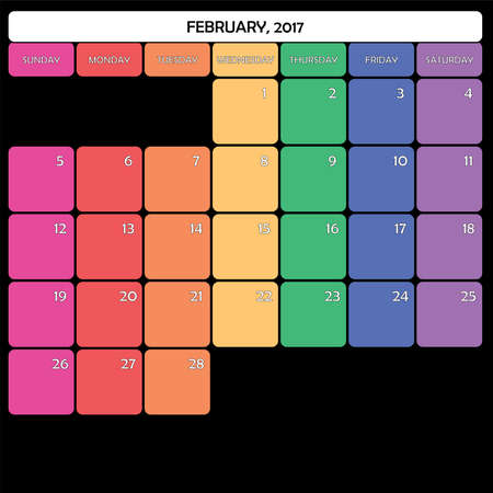 day planner: February 2017 Planner Calendar big editable space color day