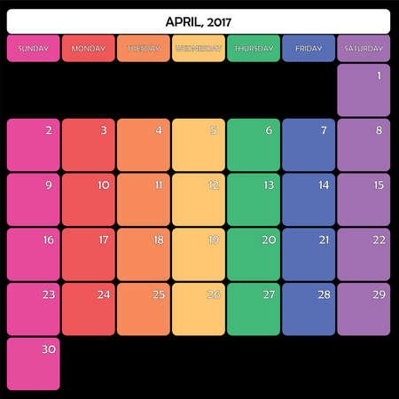 day planner: April 2017 Planner Calendar big editable space color day
