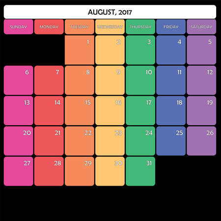 day planner: August 2017 Planner Calendar big editable space color day Illustration