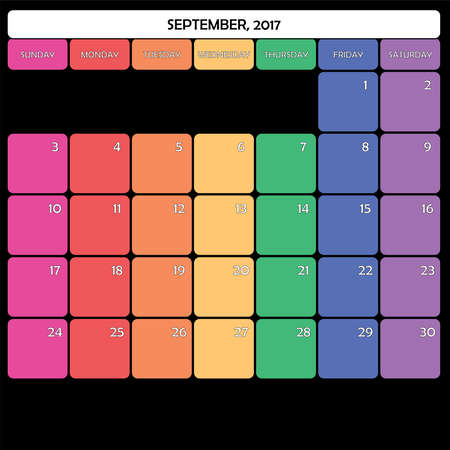 day planner: September 2017 Planner Calendar big editable space color day