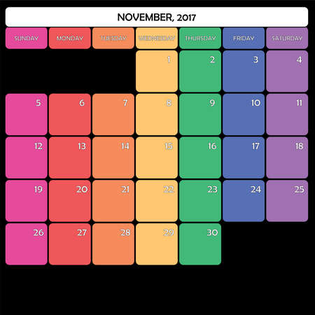 day planner: November 2017 Planner Calendar big editable space color day