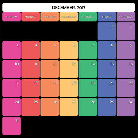day planner: December 2017 Planner Calendar big editable space color day