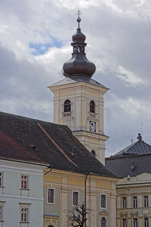 Catholic Cathedral Sibiu Romania tower medieval architecture view from Little Square - Piata Mica