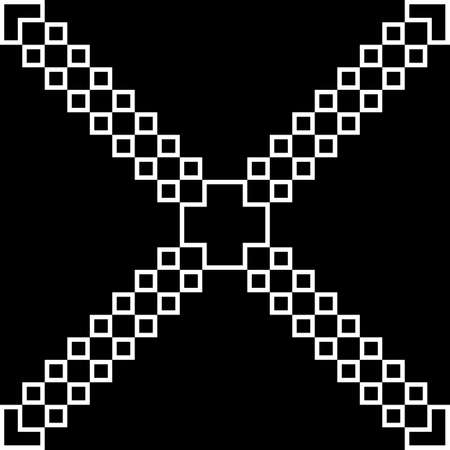 Cross like disgonals abstract white on black background Illustration