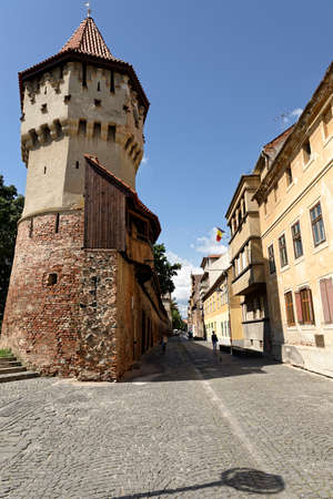 Old Town Sibiu Romania Cetatii Street Fortress Towers and Fortress Wall